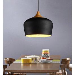 Valott Hanglamp Modern Zwart Rond Aluminium en Hout - Valott Jari