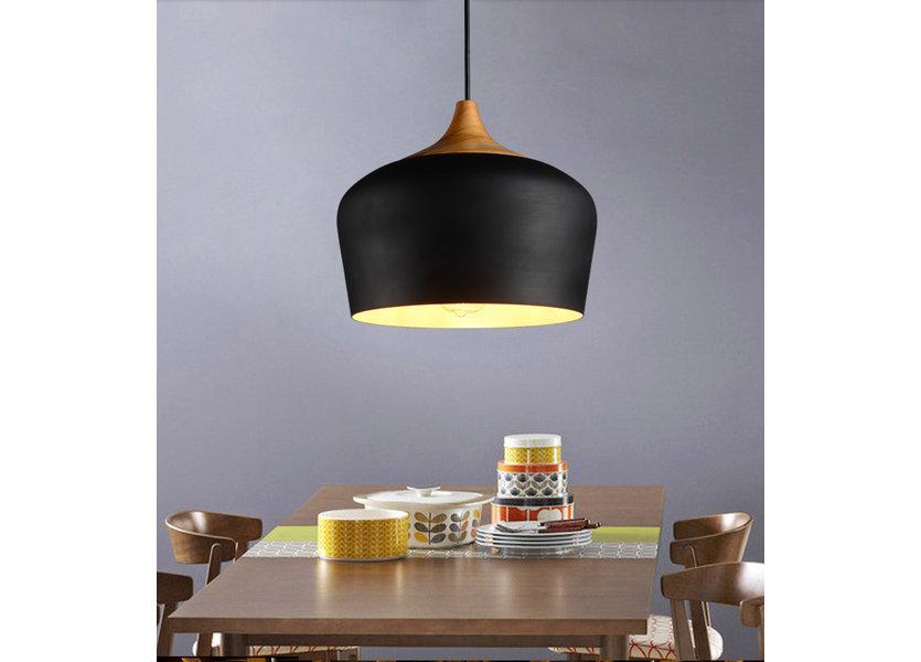 Hanglamp Modern Zwart Rond Aluminium en Hout - Valott Jari