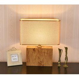 Valott Tafellamp Modern Hout met Beige Kap 50 cm - Valott Ayote