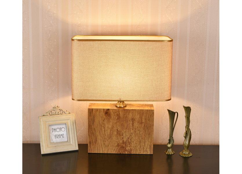 Tafellamp Modern Hout met Beige Kap 50 cm - Valott Ayote