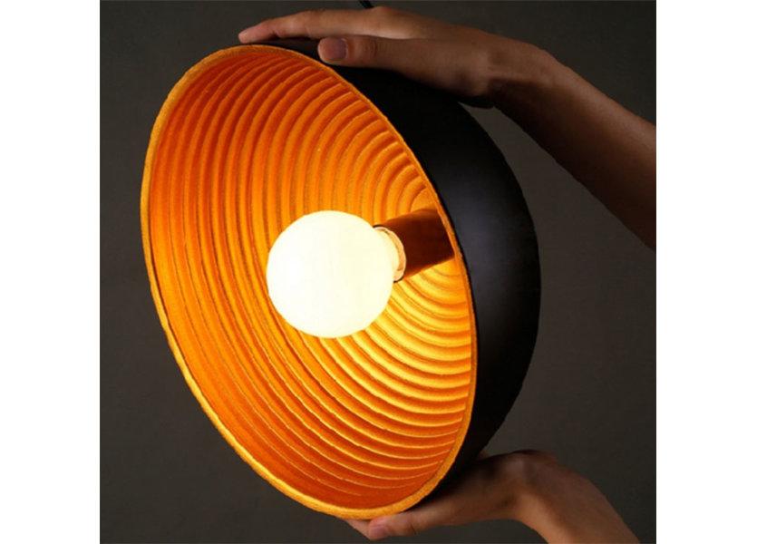 Hanglamp Zwart met Gouden Binnenkant 50 cm - Scaldare Lucano
