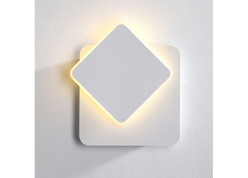 Wandlamp LED Design Wit Vierkant Aluminium - Scaldare Domaso