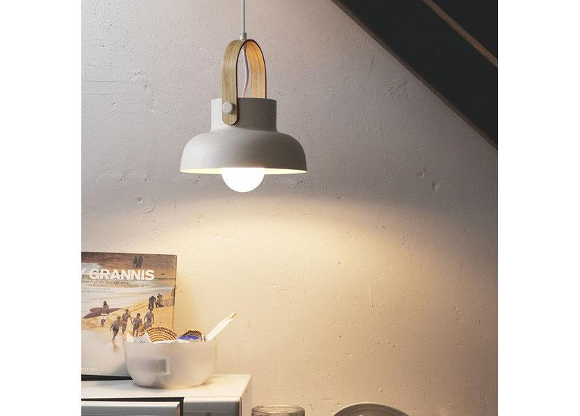 Hanglamp Modern Wit Aluminium met Hout - Valott Lumi