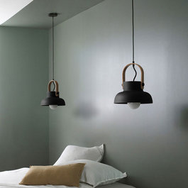 Valott Hanglamp Modern Zwart Aluminium met Hout - Valott Mirja