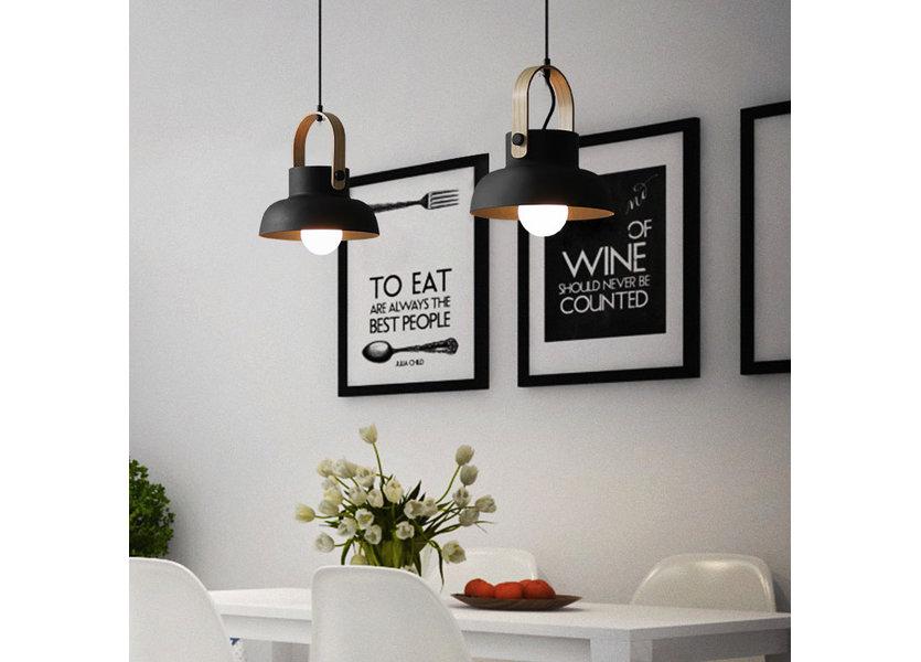 Hanglamp Modern Zwart Aluminium met Hout - Valott Mirja