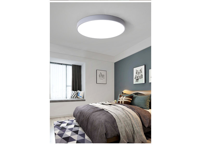 LED Plafondlamp Modern Grijs Metaal 50 cm met ingebouwde LED - Valott Hella Plafonnière
