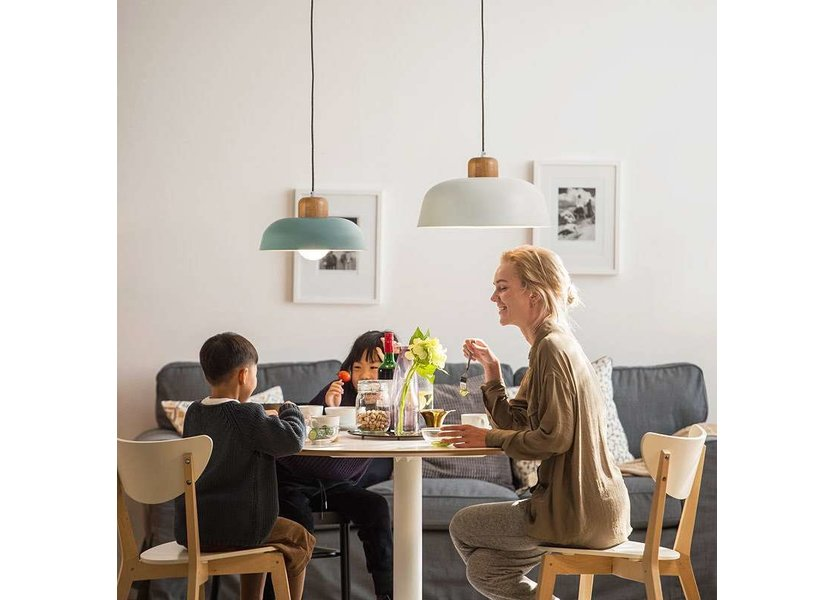 Hanglamp Modern Groen Metaal en Hout - Valott Kaisa