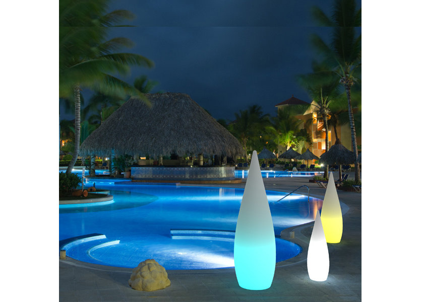 Oplaadbare Staande Lamp LED RGB Waterdruppel 80 cm incl.  Afstandsbediening - Funnylights Muk Tuinlamp