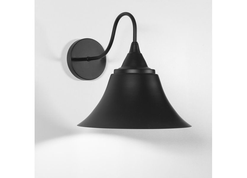 Zwarte klok wandlamp