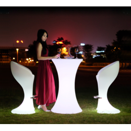 Funnylights LED RGB Statafel met Glasplaat Oplaadbaar + Afstandsbediening - Funnylights Horsea