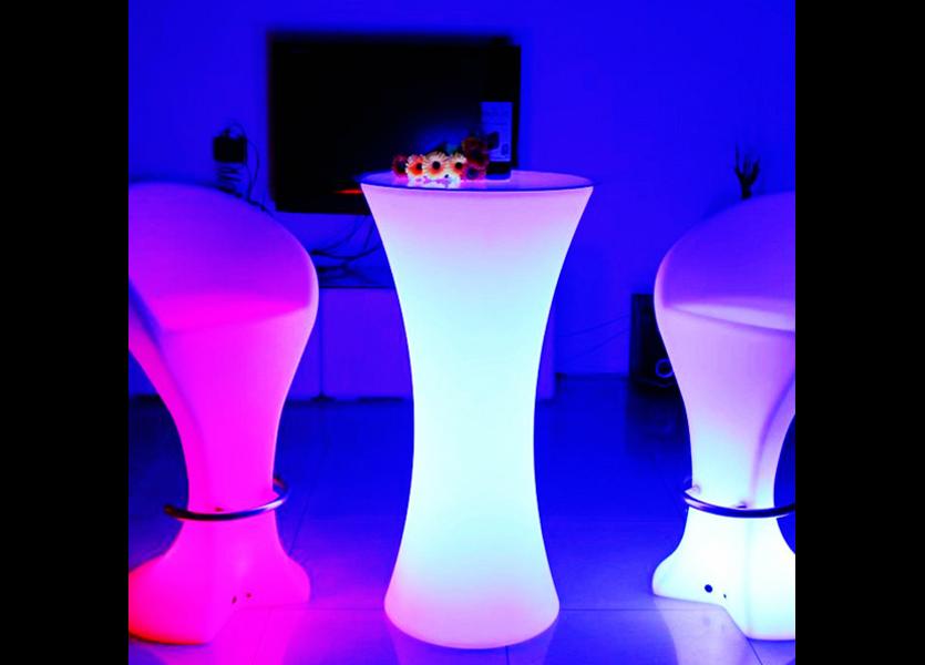 LED RGB Statafel met Glasplaat Oplaadbaar + Afstandsbediening - Funnylights Horsea
