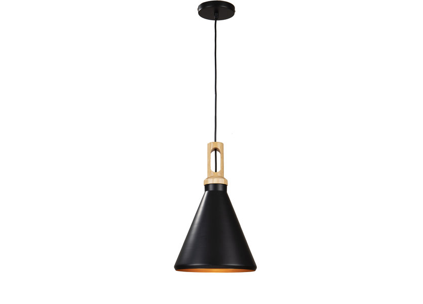 Hanglamp Zwart Alu met Gouden Binnenkant - Valott Timo