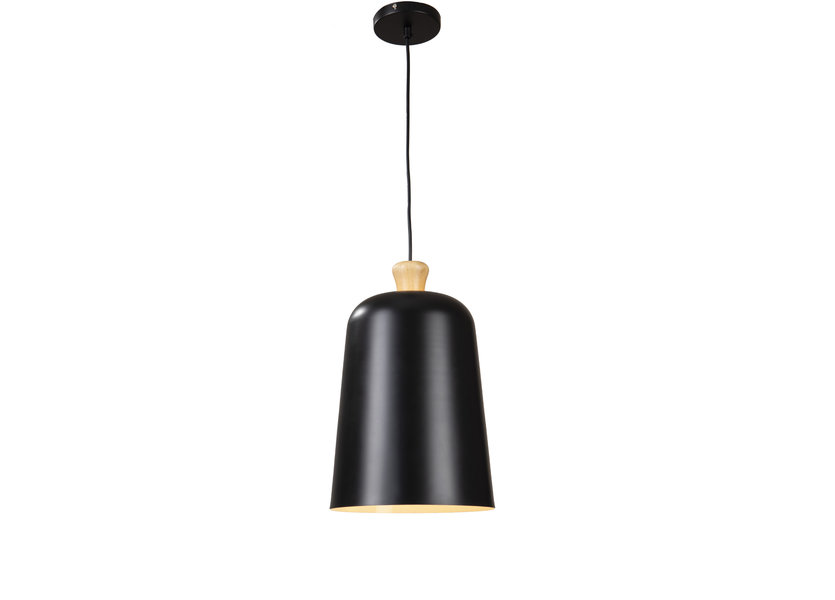 Hanglamp Zwart Aluminium met hout - Valott Eliisa