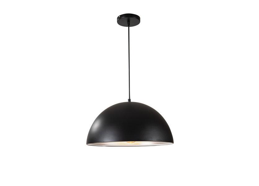 Hanglamp Zwart met Zilveren Binnenkant 40 cm-Scaldare Lucano
