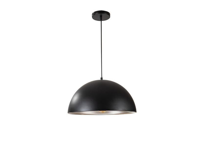 Hanglamp Zwart met Zilveren Binnenkant 40 cm - Scaldare Lucano