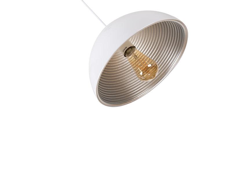 Hanglamp Wit met Zilveren Binnenkant 30 cm - Scaldare Lucano