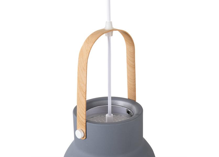 Hanglamp Modern Grijs Aluminium met Hout - Valott Suvi