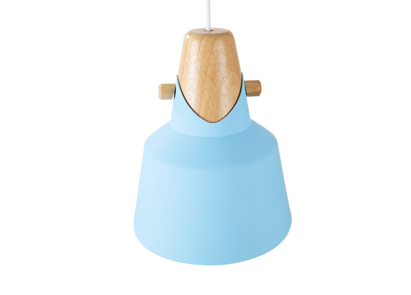 Hanglamp Modern Blauw Aluminium met Hout - Valott Tarja