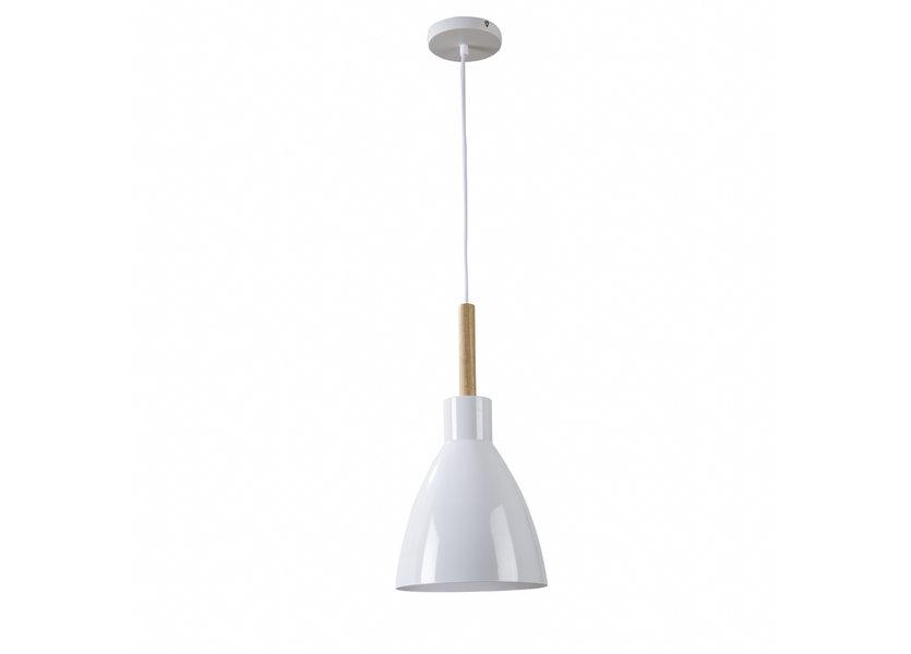 Hanglamp Modern Wit Rond Aluminium en Hout - Valott Pirkko