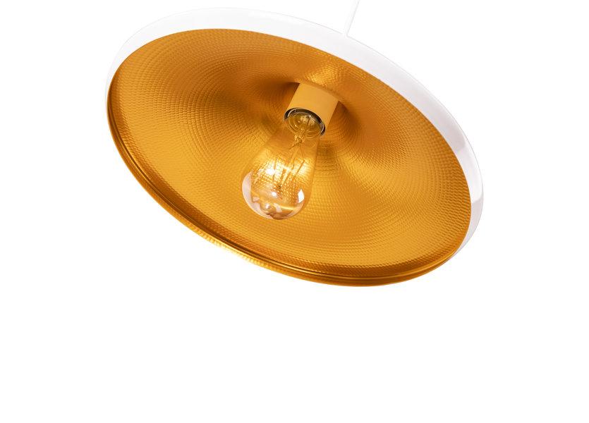 Hanglamp Wit Rond Alu met Gouden Binnenkant - Scaldare Lozio