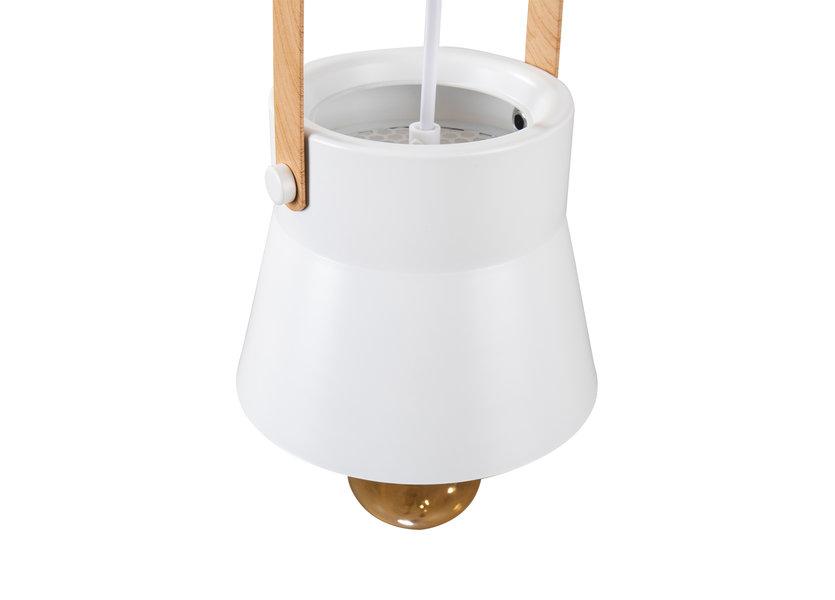 Hanglamp Modern Wit Aluminium met Hout - Valott Eeva