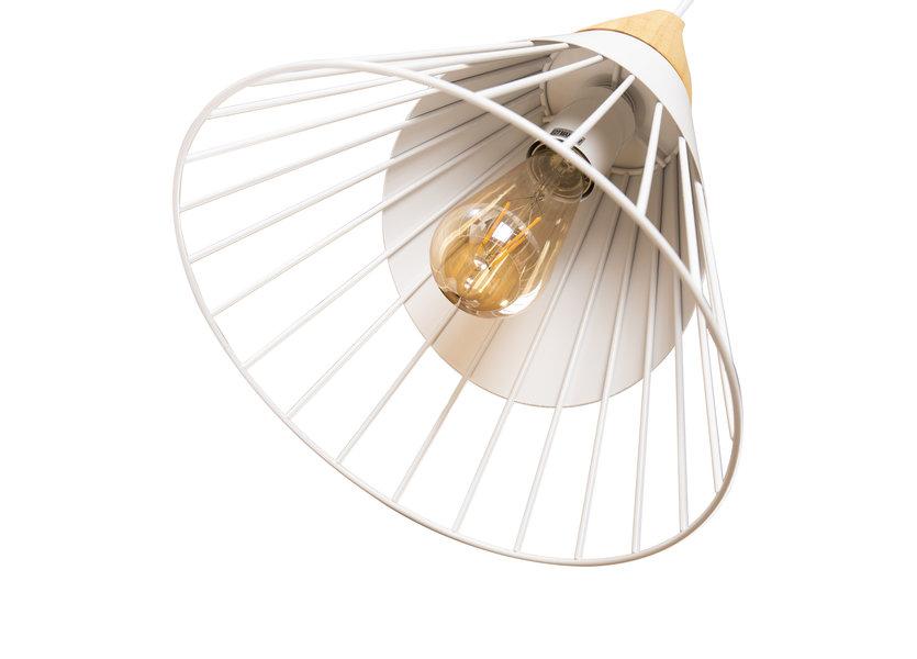 Hanglamp Wit Aluminium met hout - Scaldare Saltino