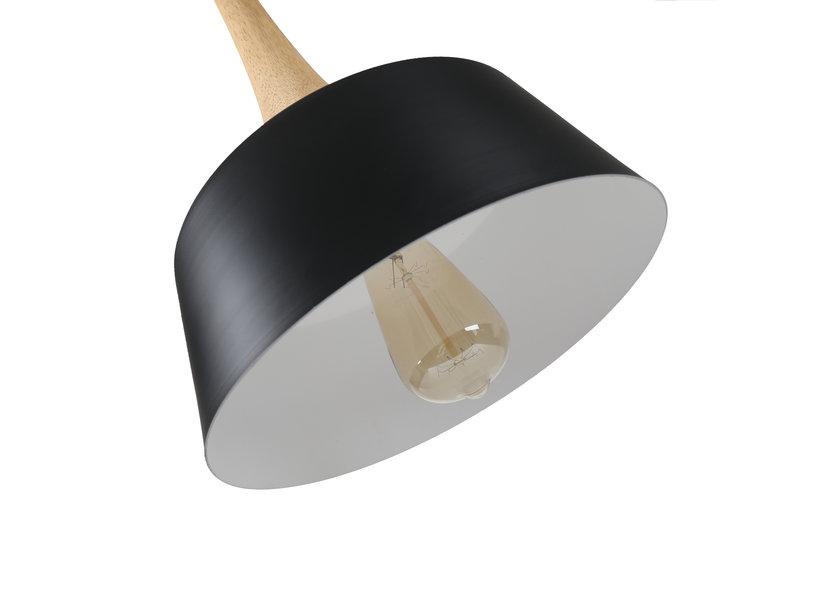 Hanglamp Modern Zwart Rond Aluminium en Hout - Valott Sirkka