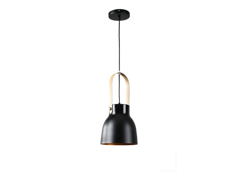 Hanglamp Modern Zwart Aluminium met Hout - Valott Maija