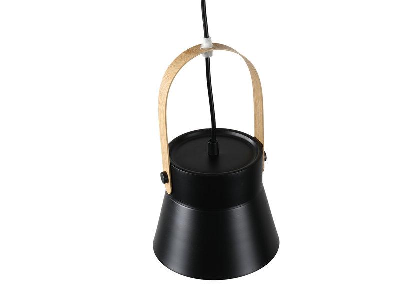 Hanglamp Modern Zwart Aluminium met Hout - Valott Kirsi