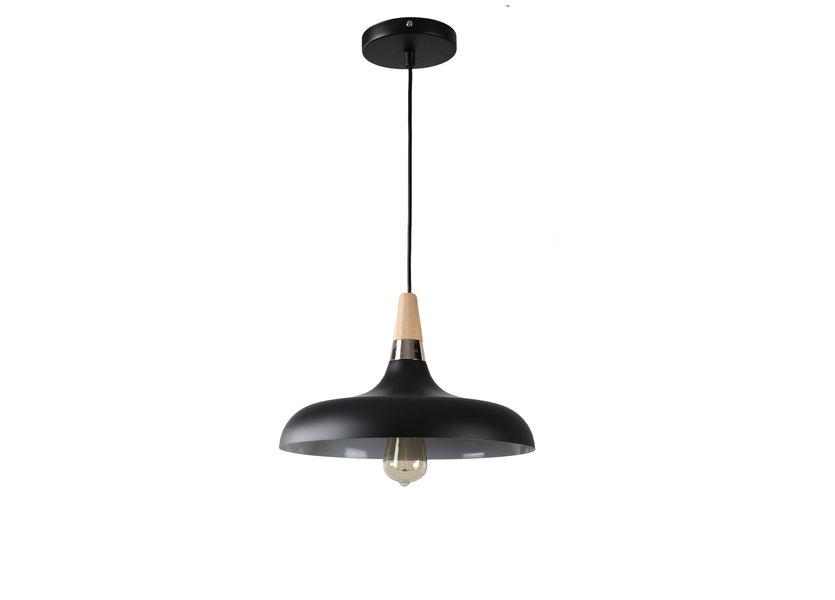 Hanglamp Zwart Aluminium met hout - Valott Hanna