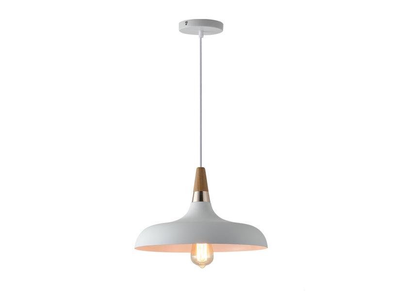 Hanglamp Wit Aluminium met hout - Valott Hanna