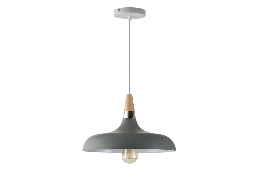 Hanglamp Grijs Aluminium met hout - Valott Hanna