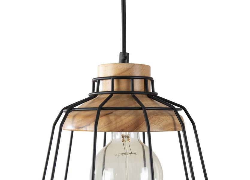 Hanglamp Draadstaal Zwart Rond Alu en Hout - Valott Kristian