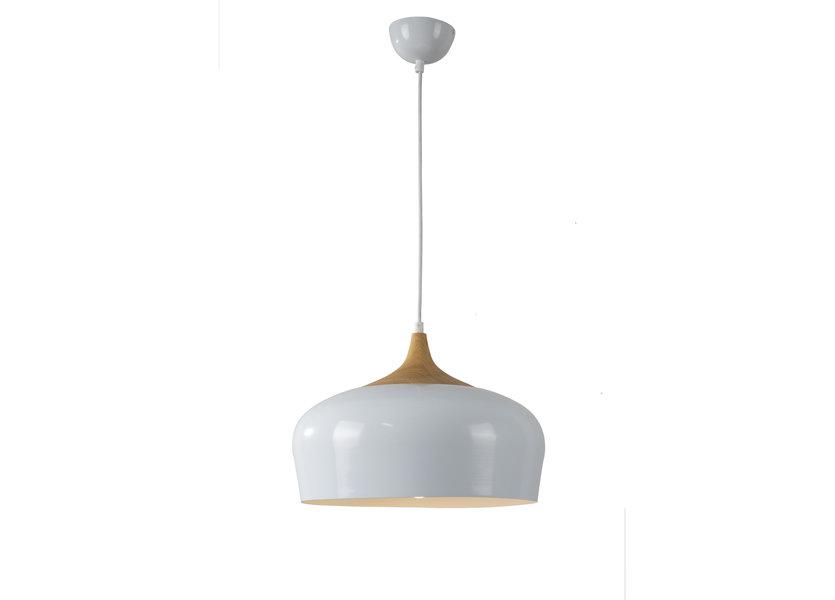 Hanglamp Modern Wit Rond Aluminium en Hout - Valott Jari