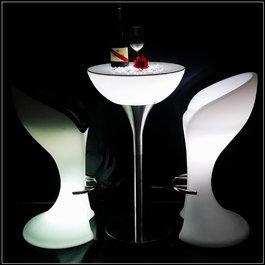 Funnylights LED RGB Statafel met glasplaat Oplaadbaar + Afstandsbediening - Funnylights Gloom