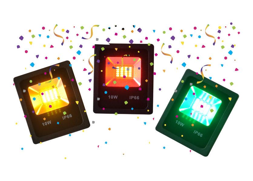 Rode, Gele en Groene LED Bouwlamp - 10 Watt - Set van 3 (Carnaval) IP66 - Crius