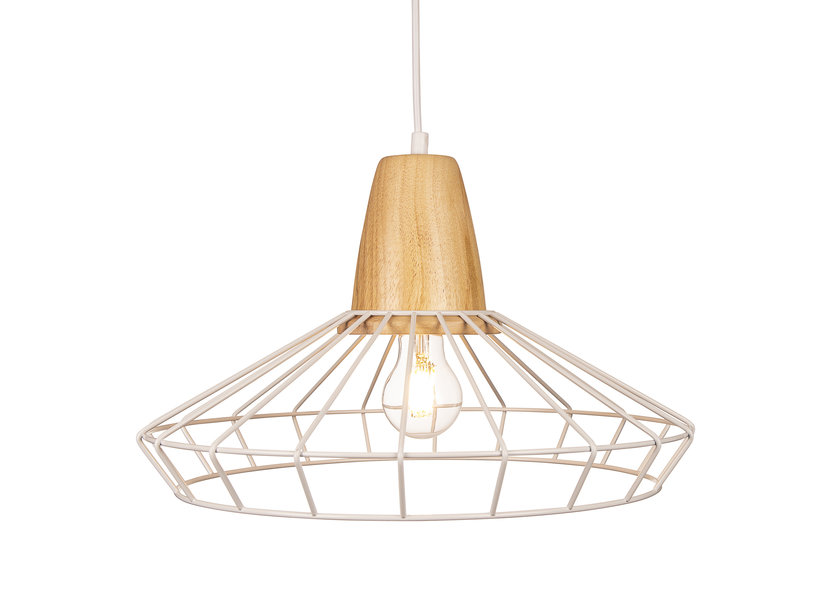 Hanglamp Draadstaal Wit Rond Alu en Hout - Valott Kristian