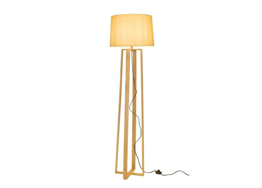 Staande Lamp Vierpoot Hout Beige Kap - Valott Ampua