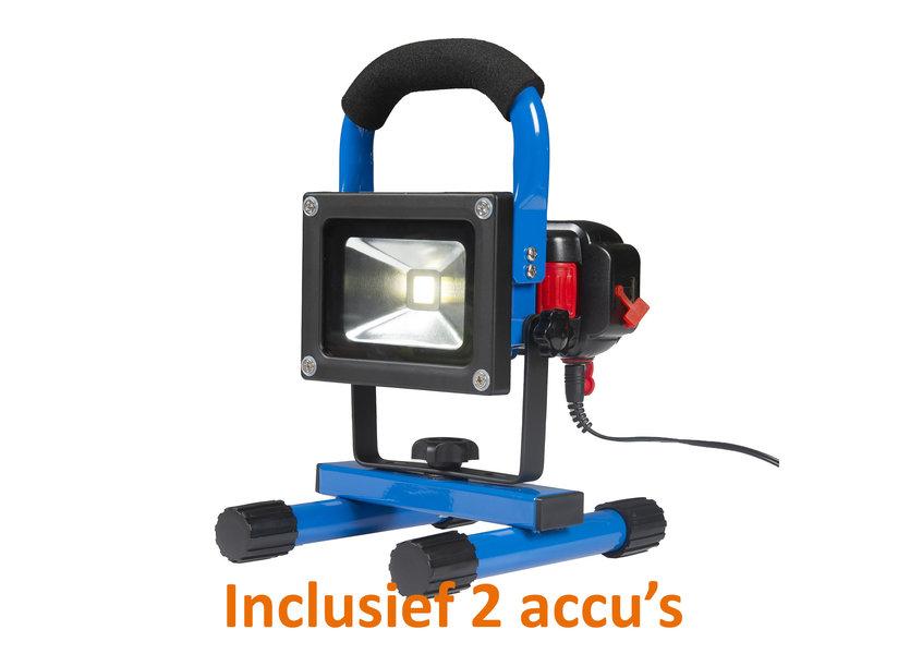 Oplaadbare LED Bouwlamp 10 Watt met 2 accu's en 2 adapters + koffer - Crius