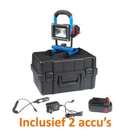Crius Oplaadbare LED Bouwlamp 10 Watt met 2 accu's en 2 adapters + koffer - Crius