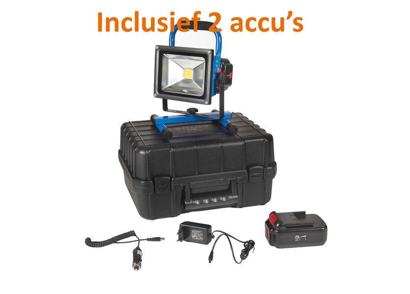 Oplaadbare LED Bouwlamp 20 Watt met 2 accu's en 2 adapters + koffer - Crius