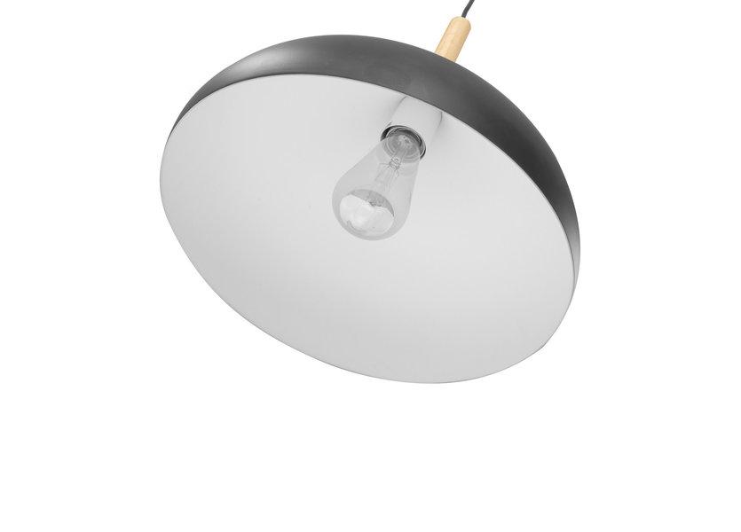 Hanglamp Modern Zwart Rond Aluminium en Hout - Valott Riikka
