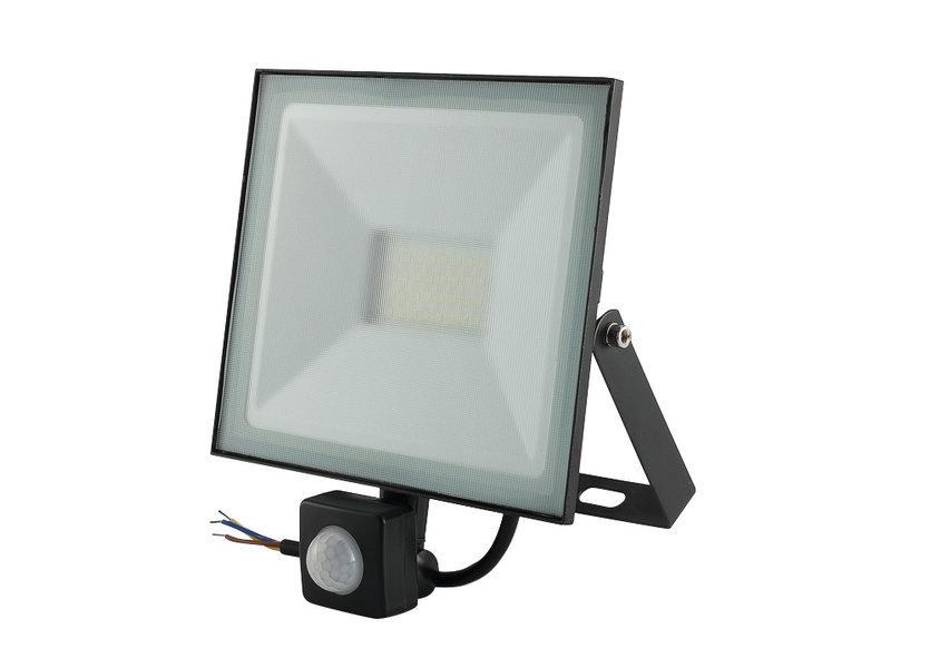 LED Bouwlamp Zwart met Sensor 50 Watt- 3000K - IP66 - Crius