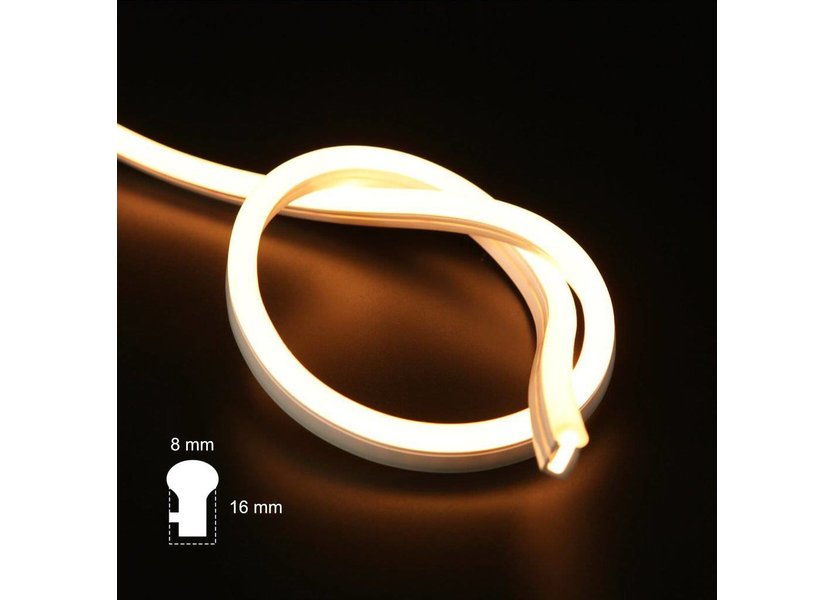 Mini LED Neon Flex Warm Wit 5 meter 8mm x 16mm inclusief 12V lichtnetadapter - Funnylights