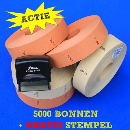 CombiCraft Blanco bonnen op rol (57x30 mm) 5000 stuks met stempel