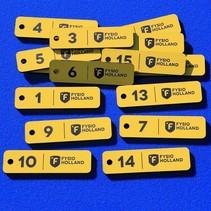 Sleutellabel logo, tekst en nummering v.a.