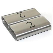 Zilverkleurige RVS Kaartklem met nummers
