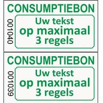 Genummerde consumptie- bon met uw tekst op lichtgrijs papier