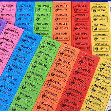 CombiCraft Consumptiebonnen 50 x 27½ mm op strips met zwarte bedrukking op gekleurd papier. De bonnen gaan per  1000 stuks