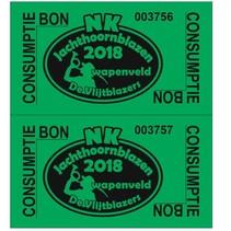Consumptiebon met logo en nummering op gekleurd papier